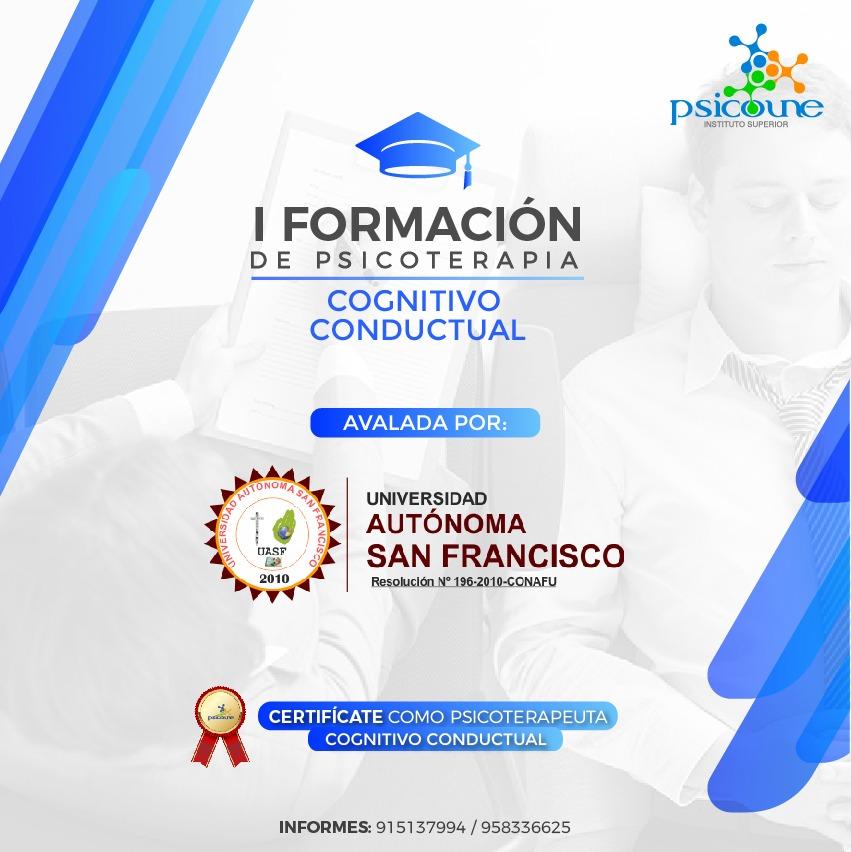 I FORMACION DE PSICOTERAPIA COGNITIVO CONDUCTUAL